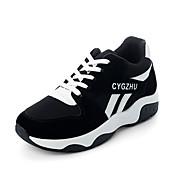 Mujer Zapatos PU Verano Creepers botas slouch Tacones Paseo Tacón Cuña Puntera abierta Hebilla para Casual Negro y Púrpula Negro/Rojo