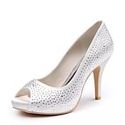 レディース 靴 シルク 春 夏 ベーシックサンダル ウェディングシューズ スティレットヒール オープントゥ/ピープトウ ラインストーン のために 結婚式 パーティー ホワイト