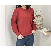 Mujer Regular Pullover Diario Activo,Un Color Cuello Barco Mangas largas Algodón japonés Invierno Otoño Opaco Microelástico