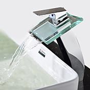 コンテンポラリー 近代の 洗面ボウル 滝状吐水タイプ セラミックバルブ 一つ シングルハンドルつの穴 クロム, バスルームのシンクの蛇口