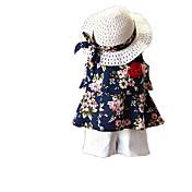 Conjunto de Ropa Chica Diario Festivos Un Color Floral Algodón Poliéster Sin Mangas Verano Bonito Activo Marrón Azul Marino