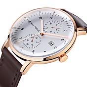 MINI FOCUS Hombre Reloj Casual Japonés Calendario / Reloj Casual / Cool Cuero Auténtico Banda Moda Negro / Marrón