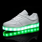 Hombre / Mujer Zapatos PU Primavera / Otoño Confort / Zapatos con luz Zapatillas de deporte Tacón Plano LED Blanco / Negro