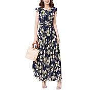 Mujer Tallas Grandes Noche / Festivos Chic de Calle Delgado Gasa / Corte Swing Vestido - Estampado, Floral Alta cintura Maxi