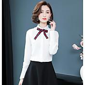 Mujer Diario / Trabajo Algodón Camisa, Cuello Camisero Un Color