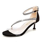 Mujer Zapatos PU Primavera / Verano Tira en el Tobillo Sandalias Tacón Kitten Negro / Beige / Fiesta y Noche