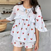 Mujer Asimétrico Babydoll y Slip Pijamas Un Color