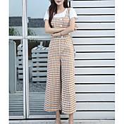 Mujer Alta cintura Delgado Chinos Pantalones - Cuadrícula