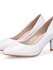 Feminino Sapatos Pele Real Couro Ecológico Primavera Outono Plataforma Básica Saltos Salto Agulha Para Casual Branco Preto Cinzento Azul