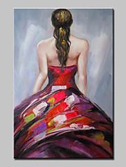 Ručno oslikana Ljudi Vertikalno,Sažetak Moderna 1pc Platno Hang oslikana uljanim bojama For Početna Dekoracija