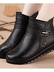 Dámské Boty Nappa Leather PU Zima Módní obuv Podšívka z vláken Boty Plochá podrážka Kotníčkové Pro Ležérní Černá