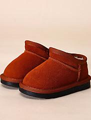 Para Meninas sapatos Pele Inverno Conforto Mocassins e Slip-Ons Para Casual Preto Cinzento Roxo Vermelho Camel