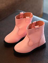 Para Meninas sapatos Courino Primavera Outono Conforto Botas Botas Curtas / Ankle Para Casual Preto Vermelho Rosa claro