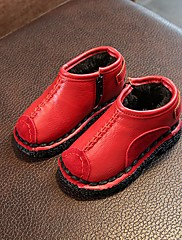 Para Meninas sapatos Micofibra Sintética PU Outono Inverno Conforto Mocassins e Slip-Ons Para Casual Preto Marron Vermelho