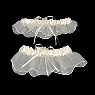levne -podvazkový šifon saténovou beading stuhou bílé svatební doplňky