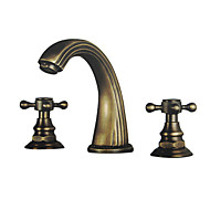 cheap Bathroom Sink Faucets-Traditional Widespread Widespread Ceramic Valve Two Handles Three Holes Antique Brass, Bathroom Sink Faucet