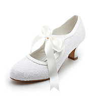 cheap -Women's Satin / Stretch Satin Spring / Summer Mary Jane Spool Heel Ribbon Tie / Lace White / Ivory / Wedding / EU42