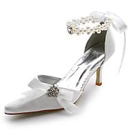 baratos Sapatos Femininos-Mulheres Sapatos Cetim / Cetim com Stretch Primavera / Verão Salto Agulha Cadarço de Borracha Branco / Ivory / Casamento