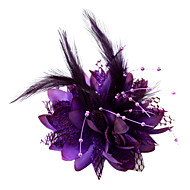 cheap Headpieces-Crystal Feather Fabric Cotton Tiaras Fascinators Flowers 1 Wedding Special Occasion Party / Evening Headpiece