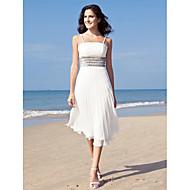 cheap Little White Dresses-Sheath / Column Spaghetti Straps Tea Length Chiffon Custom Wedding Dresses with Sequin by LAN TING BRIDE®