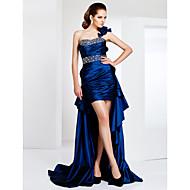 Kroj uz tijelo Na jedno rame Asimetričan kroj Taft Koktel zabava / Formalna večer Haljina s Perlica Cvijet po TS Couture®