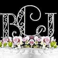 케이크 장식 가든 테마 모노그램 클래식 커플 결혼식 기념일 생일 처녀 파티 성인식 & 달콤한 열여섯 와 크리스탈 OPP