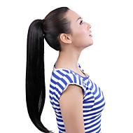 """22 """"silkeagtig lige sort syntetisk hår bånd snorring hestehale stykker forlængelse"""