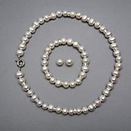 billiga Brudsmycken-Vit Pärla Smyckeset - Silver Omfatta Till Bröllop Party Årsdag / Örhängen / Dekorativa Halsband