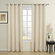 billige Gardiner-To paneler vindu behandling Neoklassisk , ensfarget Spisestue Poly/ Bomull Blanding Materiale gardiner gardiner Hjem Dekor For Vindu
