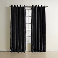 Rod Pocket Grommet Top Tab Top Double Pleat Two Panels Curtain Neoclassical , Embossed Solid Bedroom Polyester Material Blackout Curtains