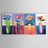 Χαμηλού Κόστους Artist - Tina Lin-Ζωγραφισμένα στο χέρι Άνθινο/Βοτανικό Horizontal Καμβάς Hang-ζωγραφισμένα ελαιογραφία Αρχική Διακόσμηση Τετράπτυχα