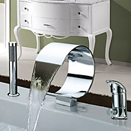 roman tub waterfall widespread with ceramic valve two handles three holes for chrome bathtub
