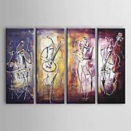 billiga Oljemålningar-Hang målad oljemålning HANDMÅLAD - Abstrakt Duk Fyra paneler