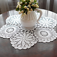abordables Sets de Table-100% Coton Rond Sets de table Couleur Pleine Fleur Economique Décorations de table