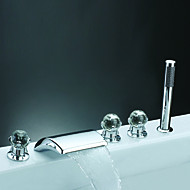 cheap Bathtub Faucets-Contemporary Roman Tub Waterfall Handshower Included Widespread Ceramic Valve Five Holes Three Handles Five Holes Chrome, Bathtub Faucet