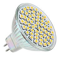 3W GU5.3(MR16) LED Spotlight MR16 60 SMD 3528 250lm Warm White 2800K DC 12V