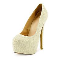 お買い得  靴-女性用 靴 エナメル 春 秋 スティレットヒール プラットフォーム イミテーションパール のために 結婚式 ドレスシューズ ホワイト