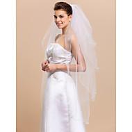 cheap Wedding Veils-Four-tier Pencil Edge Wedding Veil Fingertip Veils 53 Satin Flower 47.24 in (120cm) Tulle A-line, Ball Gown, Princess, Sheath/ Column,