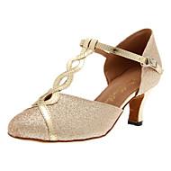 cheap Customized Dance Shoes-Women's Modern Sparkling Glitter Heel Buckle Customized Heel Silver Gold Customizable