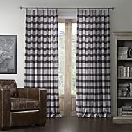 billige Gardiner ogdraperinger-to paneler mediterranean lin print stripe gardin