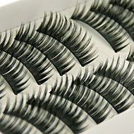 Longer Darker Thicker Curved Version Handmade Black Fiber Lashes False Eyelashes 1030#(10 Pairs Per Box)