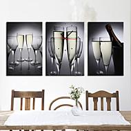 billige Veggklokker-moderne stil drikke floral veggur i canvas 3pcs