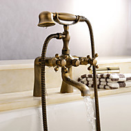 cheap Bathtub Faucets-Antique Tub And Shower Clawfoot Handshower Included Ceramic Valve Two Holes Antique Brass, Shower Faucet Bathtub Faucet