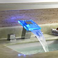 Çağdaş Ayrılmış Gövdeli Şelale with  Seramik Vana Üç Delik İki Kolları Üç Delik for  Krom , Banyo Lavabo Bataryası