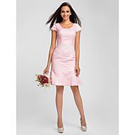 Tube / kolonne Scoop Neck Knelang Heldekkende blomsterblonder Brudepikekjole med Blonder Plissert av LAN TING BRIDE®