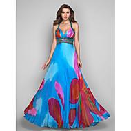 A-linje Prinsesse Gulvlang Chiffon Skolebal Formel aften Kjole med Perlearbejde Mønster / tryk ved TS Couture®