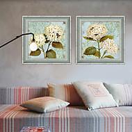 billige Innrammet kunst-Innrammet Lerret Innrammet Sett Blomstret/Botanisk Veggkunst, PVC Materiale med ramme Hjem Dekor Rammekunst Stue Spisestue