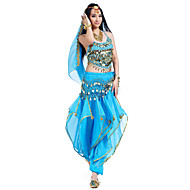 cheap Sale-Belly Dance Outfits Women's Performance Chiffon Beading Sequin Coin Sleeveless Top Pants Hip Scarf Headwear