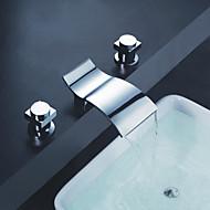 Nykyaikainen Kolmiosainen Vesiputous with  Keraaminen venttiili Kolme reikää Kaksi kahvaa kolme reikää for  Kromi , Kylpyhuone Sink hana