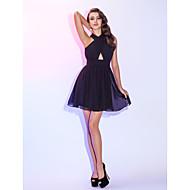 Γραμμή Α / Εφαρμοστό & Εμβαζέ Δένει στο Λαιμό Κοντό / Μίνι Σιφόν Μικρό Μαύρο Φόρεμα Κοκτέιλ Πάρτι Φόρεμα με Που καλύπτει / Πιασίματα με TS Couture®